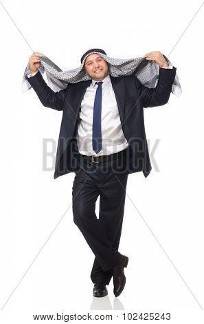 Happy arab man isolated on white