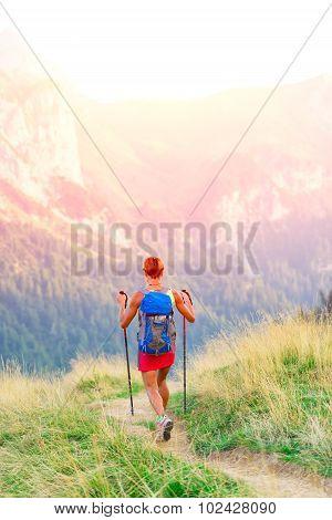 .woman Hiker In Mountain Trekking