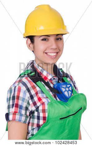 Female worker wearing helmet isolated on white