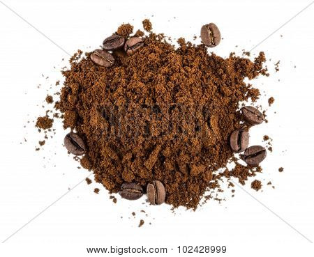 Heap Of Ground Coffee And Coffee Beans  Background