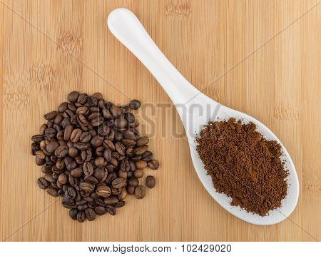 Ground Coffee In Plastic Spoon And Heap Of Coffee Beans