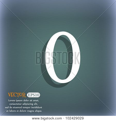 Number Zero Icon Sign. On The Blue-green Abstract Background With Shadow And Space For Your Text. Ve