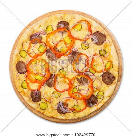 Delicious Pizza With Onions And Carpaccio