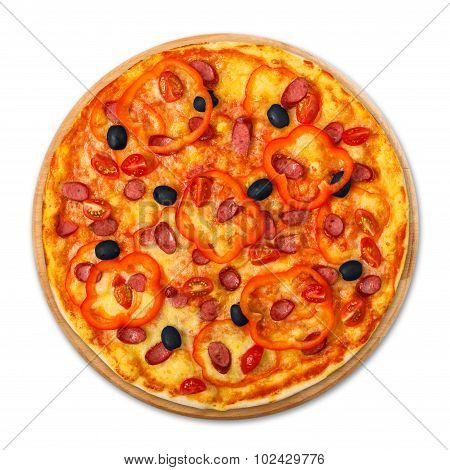 Delicious Pizza With Sausages, Peppers And Olives