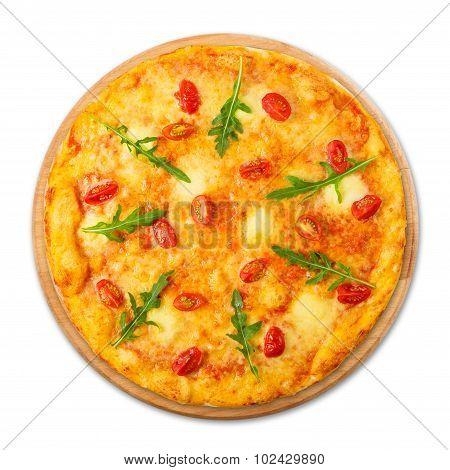 Delicious Pizza With Cherry Tomatoes, Mozzarella And Fresh Arugula