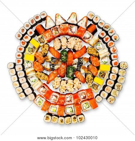 Big Set Of Sushi, Maki, Gunkan And Rolls Isolated At White