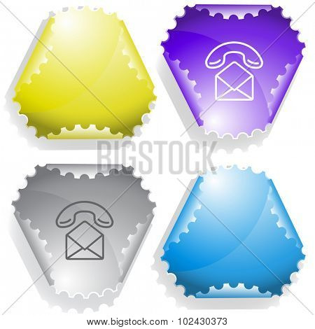 open mail with handset. Vector sticker.
