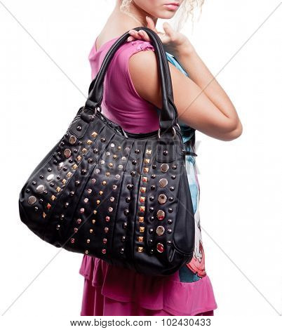 Woman and fashion bag (handbag) isolated on white