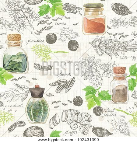 Seamless kitchen background of hand-drawn and watercolor spices and herbs, vector illustration in vintage style.