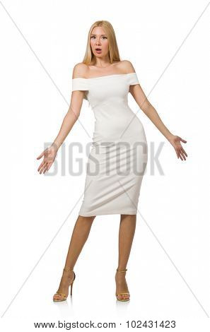 Blond hair woman in elegant dress isolated on white