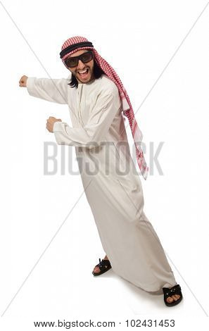 Happy arab man isolated on white