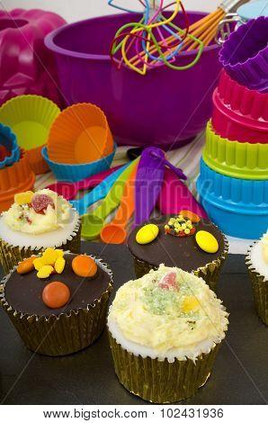 Cup Cakes and Cooking Utensils