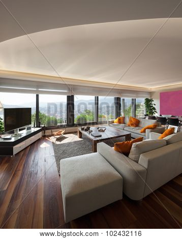 Interior, beautiful living room of a luxury apartment