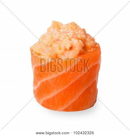 Japanese Cuisine Food Closeup - Salmon Gunkan