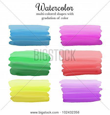 Six bright rectangular watercolor shapes