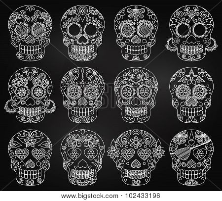 Vector Collection of Chalkboard Day of the Dead Skulls or Sugar Skulls