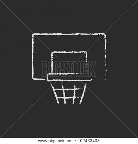 Basketball hoop hand drawn in chalk on a blackboard vector white icon isolated on a black background.