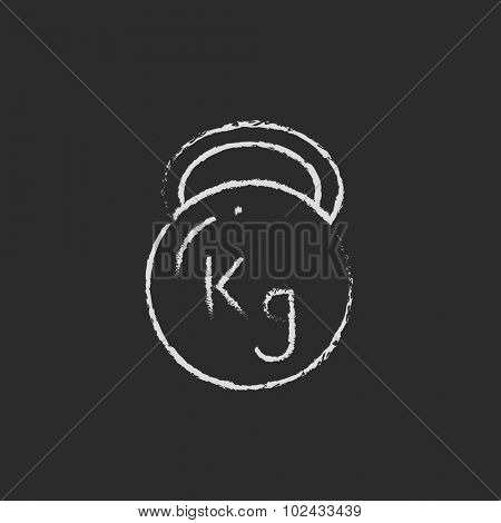Kettlebell hand drawn in chalk on a blackboard vector white icon isolated on a black background.