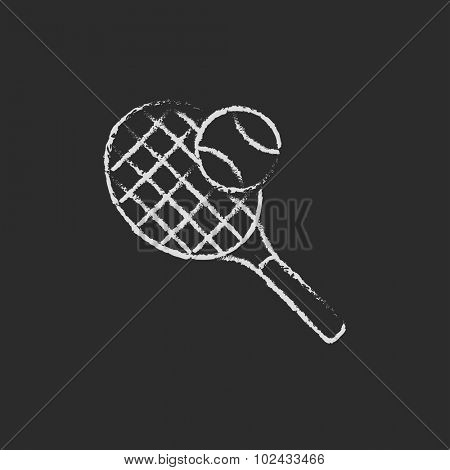 Tennis racket and ball hand drawn in chalk on a blackboard vector white icon isolated on a black background.