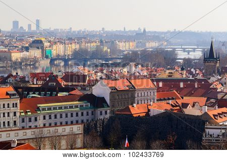 panoramic view on Prague old town from above, Czech Republic