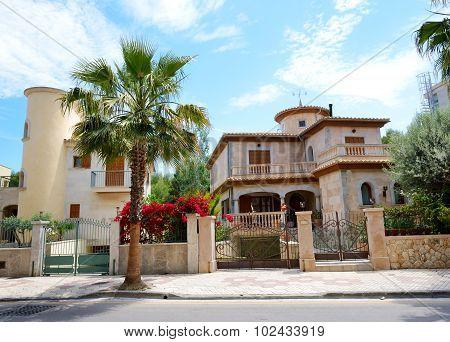 The Street And Buildings On Mallorca Island, Spain