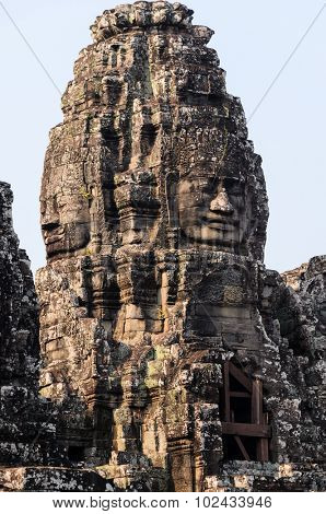 Prasat Bayon, part of Angkor Khmer temple complex, popular among tourists ancient lanmark and place of worship in Southeast Asia. Siem Reap, Cambodia.