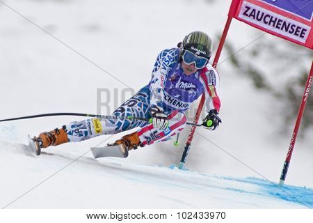ZAUCHENSEE AUSTRIA. 08 JANUARY 2011.  Stacey Cook (USA) speeds down the course competing in the downhill race part of FIS Alpine World Cup, in Zauchensee Austria.