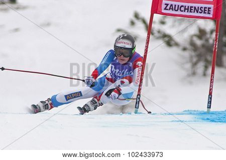 ZAUCHENSEE AUSTRIA. 08 JANUARY 2011.  Lara Gut (SUI) speeds down the course competing in the downhill race part of FIS Alpine World Cup, in Zauchensee Austria.