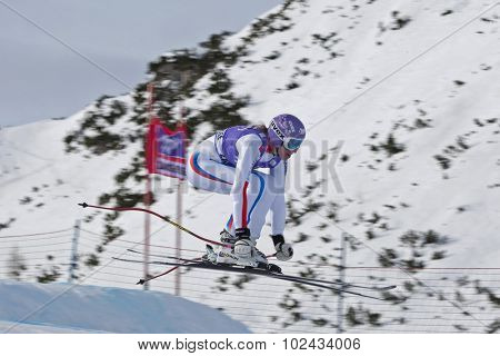ZAUCHENSEE AUSTRIA. 06 JANUARY 2011.  Ingrid Jacquemod (FRA) takes to the air in the first training run for the downhill race part of FIS Alpine World Cup, in Zauchensee Austria.