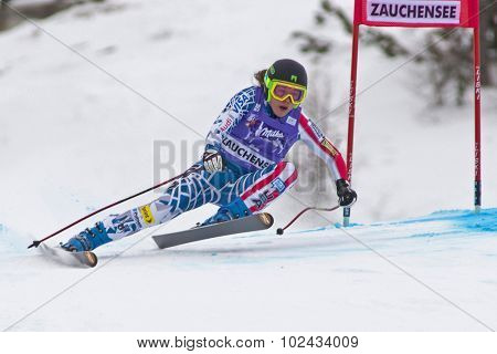 ZAUCHENSEE AUSTRIA. 08 JANUARY 2011.  Leanne Smith (USA) speeds down the course competing in the downhill race part of FIS Alpine World Cup, in Zauchensee Austria.
