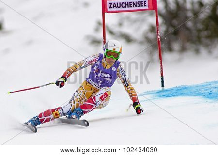 ZAUCHENSEE AUSTRIA. 08 JANUARY 2011.  Britt Janyk (CAN) speeds down the course competing in the downhill race part of FIS Alpine World Cup, in Zauchensee Austria.