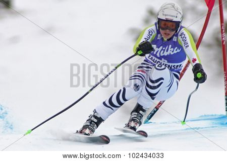 ZAUCHENSEE AUSTRIA. 08 JANUARY 2011.  Viktoria Rebensburg (GER) speeds down the course competing in the downhill race part of FIS Alpine World Cup, in Zauchensee Austria.