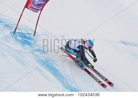 ZAUCHENSEE AUSTRIA. 09 JANUARY 2011.  Julia Mancuso (USA) speeds down the course while competing in the super giant slalom race (Super G) part of FIS Alpine World Cup, in Zauchensee Austria.