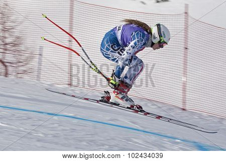 ZAUCHENSEE AUSTRIA. 06 JANUARY 2011.  Laurenne Ross (USA) takes to the air in the first training run for the downhill race part of FIS Alpine World Cup, in Zauchensee Austria.