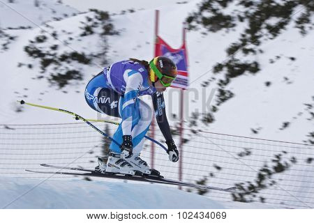 ZAUCHENSEE AUSTRIA. 06 JANUARY 2011.  Carolina Ruiz Castillo (SPA) takes to the air in the first training run for the downhill race part of FIS Alpine World Cup, in Zauchensee Austria.