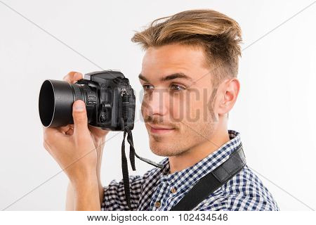 Handsome Young Man Photographing And Smiling