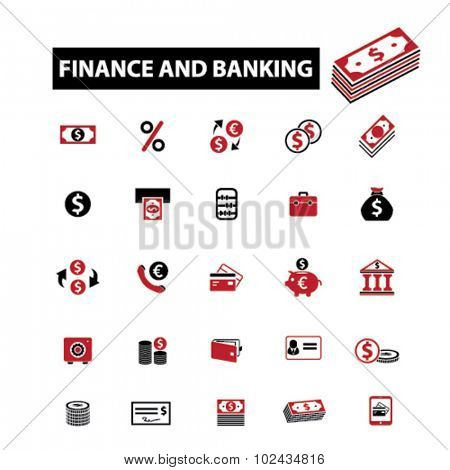 finance, bank icons