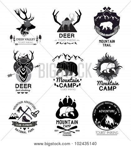 Set retro mountain camp and the journey logo, emblem, label.