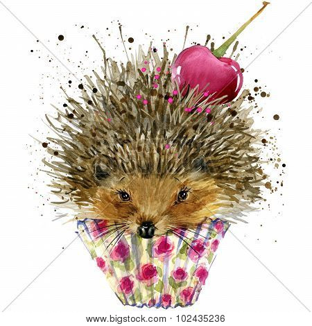 Hedgehog and dessert with cherry T-shirt graphics, Hedgehog and dessert illustration with splash wat