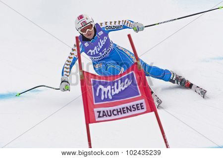 ZAUCHENSEE AUSTRIA. 08 JANUARY 2011.  Anja Paerson (SWE) speeds down the course competing in the downhill race part of FIS Alpine World Cup, in Zauchensee Austria.
