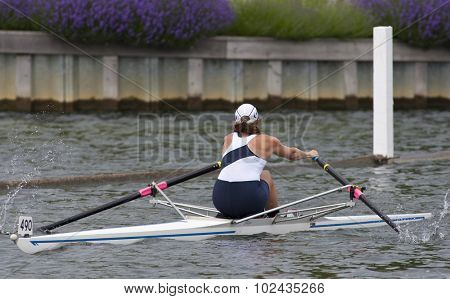 HENLEY, ENGLAND. 01-07-2010. M.J. Gay (USA) in action on day 2 of the Henley Royal Regatta 2010 held on the River Thames.