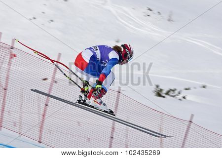 ZAUCHENSEE AUSTRIA. 06 JANUARY 2011.  Fabienne Suter (SUI) takes to the air in the first training run for the downhill race part of FIS Alpine World Cup, in Zauchensee Austria.