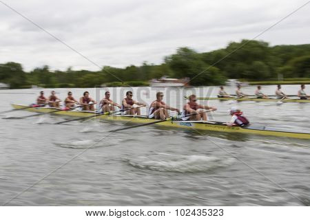 HENLEY, ENGLAND. 02-07-2010. racers in action on day 3 of the Henley Royal Regatta 2010 held on the River Thames.