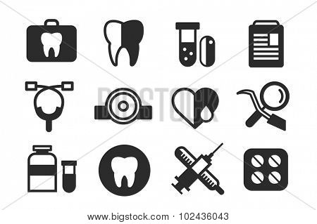 Medicine vector icons set. Doctors tools for health care. Medic first help, hospital tools icons. Vector healthcare icons set. Heart, doctor, tooth icon, medicine, pills, health and medical. Health