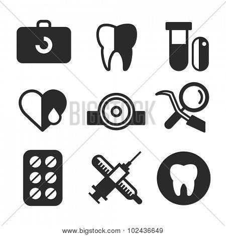 Dental vector icons set. Dentist clinic icons logo. Vector tooth, heart, pills, health care, tooth care, oral hygiene, tooth logo, toothbrush. Dentist clinic doctor office tools. Tooth health care