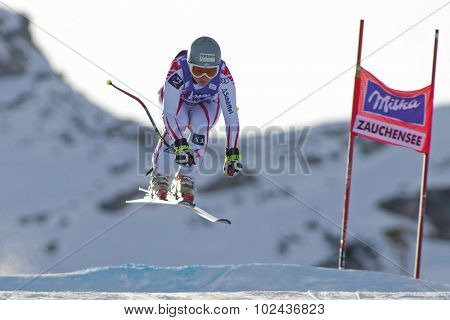 ZAUCHENSEE AUSTRIA. 07 JANUARY 2011.  Margret Altacher (AUT) takes to the air during the second official training run for the downhill race part of FIS Alpine World Cup, in Zauchensee Austria.