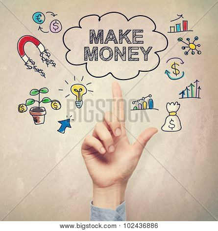 Hand Pointing To Make Money Concept