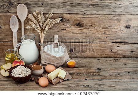 Baking Ingredients Or Cooking Apple Pie
