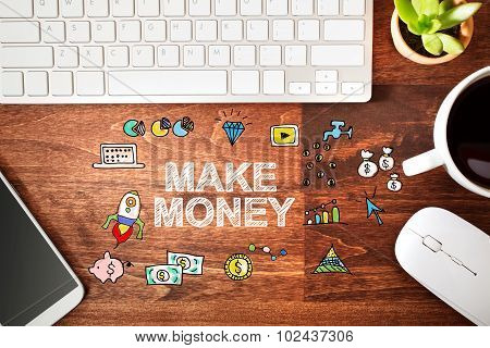 Make Money Concept With Workstation