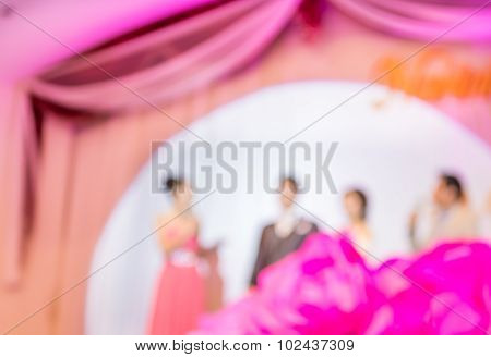 Thai Wedding On Purple Stage With Red Carpet For Background Usage